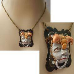 Gargoyle Door Knocker Pendant Necklace Jewelry Handmade NEW Sculpted NEW Clay #Handmade #Pendant
