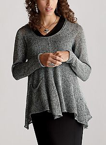 Rayon linen blend, soft shaping, looks oh so comfy! The pocket adds a fun touch