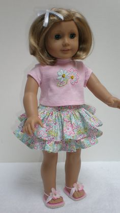 Pink Floral Ruffled Skirt Tee Shirt fits American Girl 18 inch doll