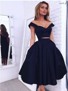 Chic Off The Shoulder Navy Blue Homecoming Dresses Short Prom Dresses Navy Blue Homecoming Dress, Two Piece Homecoming Dress, Cute Homecoming Dresses, Prom Dresses With Pockets, Dresses Short, Prom Dresses Blue, Cheap Dresses, Evening Dresses, Dress Prom