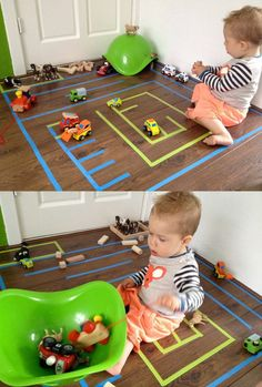 Use some colored tape to create a race track for the cars and add Bilibo as a mountain with tunnels or as garage and storage depot. Thanks to www.depoppenkraam.nl for sharing