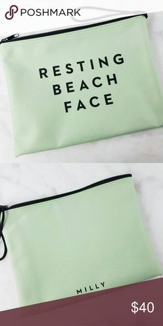 "Milly Zip Pouch New in packaging! Milly Zip Pouch  -mint green -water resistant -cute and adorable saying ""resting beach face"" -10.25"" x 8"" Milly Bags"