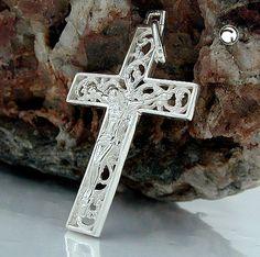 Anhänger, Kreuz mit Jesus, Silber, 925