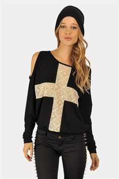 Open Cross Sweatshirt - Black at Necessary Clothing