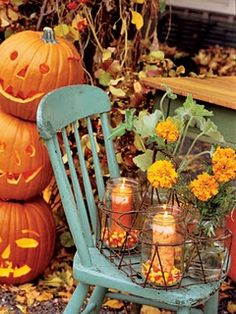 Use mason jars and anchor pillar candles in a bed of candy corn or black and orange jelly beans for a simple and festive Halloween decoration for the tabletop or porch.