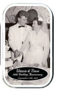 50th Anniversary Photo Mint Tin Favors.  A label with the photo of the bride and groom come placed on the top of the tin.  Inside are mints or gum.
