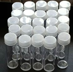 25 NEW BCW ROUND SMALL DOLLAR CLEAR PLASTIC COIN STORAGE TUBES W// SCREW ON CAPS