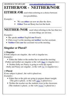 Either - or Neither - nor English grammar Cambridge English FCE,CAE,CPE