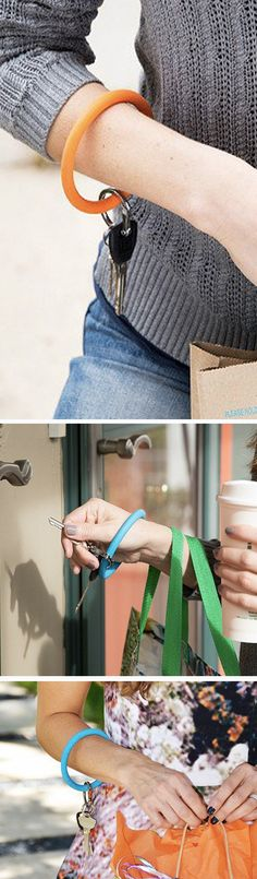 A hands-free way to keep your keys handy. Slip this colorful, durable bangle over your wrist and carry bags, tote kids, or walk the dog.