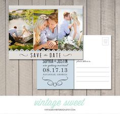 Save the Date Postcard Printable by Vintage by vintagesweetdesign, $12.00