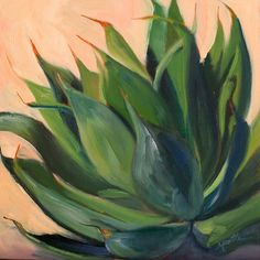 Athena Mantle's Agave Series This oil painting of a green agave is painted in oil on panel and comes framed in a charcoal wood frame. It can be displayed as a diptych with Green Agave Right. Green Cactus, Green Plants, Cactus Plants, Tropical Art, Tropical Plants, Plant Painting, Succulents Painting, Cactus Painting, Canvas Art