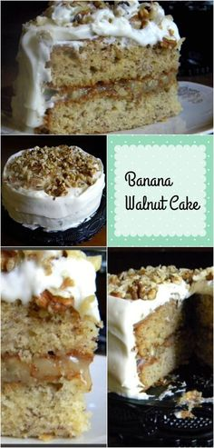 Banana walnut cake is an old fashioned layer cake with a ton of banana flavor and a creamy, lick-the Banana Layer Cake Recipe, Banana Walnut Cake, Layer Cake Recipes, Frosting Recipes, Old Fashioned Banana Cake Recipe, Banana Cakes, Layer Cakes, Banana Bread, Just Desserts