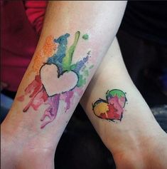 Heart Color Splash Couples Tattoos