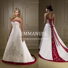 Fashion Design Sweetheart Embroidery A Line Satin Red and White Wedding Gowns EM092 US $209.74