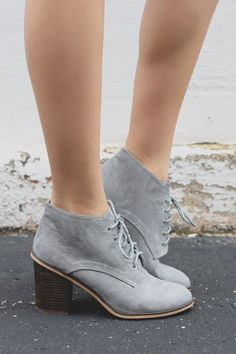 Grey Faux Suede Almond Toe Ankle Booties varsity-01 – UOIOnline.com: Women's Clothing Boutique