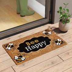 Winston Porter DeLussey Bee Happy Coir 28 in. x 16 in. Non-Slip Outdoor Door Mat Trendy Colors, Vivid Colors, Coir Doormat, Bee Creative, Bee Happy, Indoor Door Mats, Outdoor Doors, Bee Crafts, Bee Theme