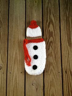 Instant Download - PDF Snowman Cocoon and Hat PATTERN - Christmas Crochet Pattern - Christmas - Newborn Photography prop