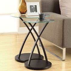Monarch Specialties Inc. 2 Piece Nesting Tables Monarch Specialties Inc. Glass End Tables, End Table Sets, Side Tables, Floor Shelf, Modern Side Table, Table Dimensions, Nesting Tables, Wood Glass, Accent Furniture