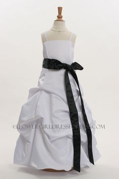 3288B - Flower Girl Dress Style 3288- White or Ivory with Black Sash - See All Dresses - Flower Girl Dress For Less