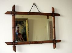 Antique French Large Faux Bamboo Mirror Home Decor