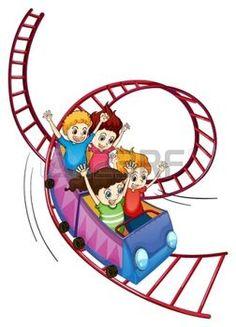 fete foraine: Illustration des enfants courageux équitation dans un tour de montagnes russes sur un fond blanc Illustration