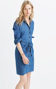 Denim Tie-Waist Dress
