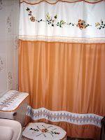 Bordado con Cintas: Juego de Baño (cortina y accesorios)