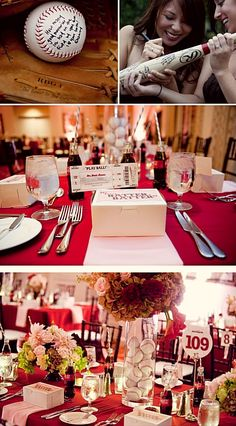 Baseball Theme Wedding- Seriously I think I love this idea!! The red for me and baseball for John!! wedding place cards, sports wedding place cards #wedding #weddings