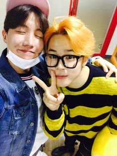 Ray of sunshine and his little bee friend Jhope & Jimin <3
