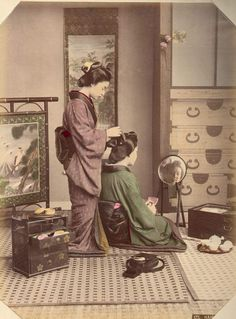 Hair Dressing by Kusakabe Kimbei - Japanese Photographer (1841-1934)