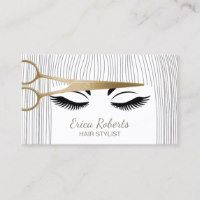 Hair Stylist Gold Scissor & Girl Hair Salon Business Card - Check out this business card. You can't find this design at your local printer. Beauty Business Cards, Salon Business Cards, Hairstylist Business Cards, Elegant Business Cards, Hair Salon Logos, Hair Logos, Design Salon, Business Hairstyles, Hair And Beauty Salon