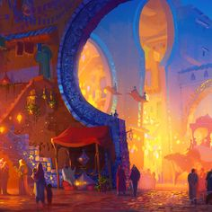 Cathleen McAllister - #VisibleWomen Matte Painting, Pretty Drawings, Art Drawings, Storyboard, Night Illustration, Lord Shiva Painting, Background Drawing, Environment Concept Art, Arabian Nights