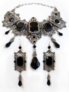 Gothic Jewelry Set Of Silver Choker Necklace Bracelet And Earrings With Black Swarovski Crystalsyou Save