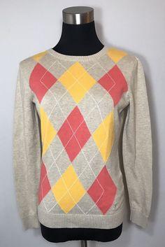 Izod Womens Size S Sweater Beige Oatmeal Pink Orange Argyle Cotton Logo Crest #IZOD #Sweater #Work