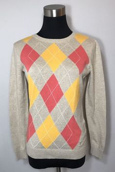 Izod Womens Size S Sweater Beige Oatmeal Pink Orange Argyle Cotton Logo Crest #IZOD #Sweater #Work