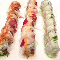 Can you name all three rolls? #whatsforlunch #threesome by bluefishsushi
