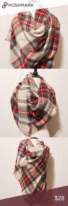"""⭐️ Silk & Pashmina Blanket Scarf - Tan Red Plaid Don't be basic, give a luxurious gift! Silk and Pashmina blanket scarf. Tan background with red, green and orange plaid. Fringe edges   60% Silk  40% Pashmina   60"""" x 54""""   #DS1100416 Accessories Scarves & Wraps"""