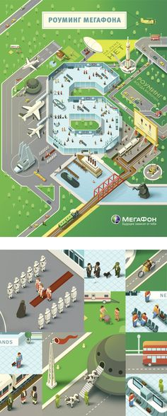 Roaming from a Megaphone by Kir Khachaturov in Colorful Map Illustration Designs Illustration Sketches, Graphic Design Illustration, Digital Illustration, Illustrations Posters, Isometric Art, Isometric Design, Map Design, Book Design, Motion Design