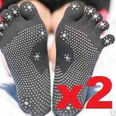 Pack of 2 Pairs Non-slip Traction Grip Yoga Toe Socks * Review more details here : Plus size Activewear