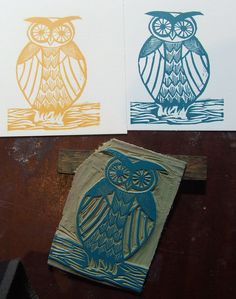 owl letterpress linoblock | Flickr - Photo Sharing!