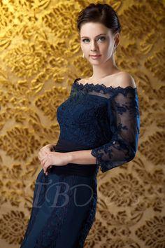 Sheath/Column Off-the-shoulder Tea-Length Polina's Mother of the Bride Dress