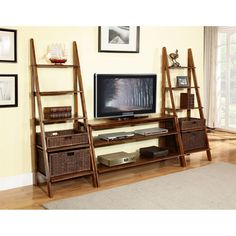 Martin Furniture IMSR360-IMSR2472x2-IMSRBSKTx2 San Ramon 3 Piece Entertainment Wall with Baskets Combination