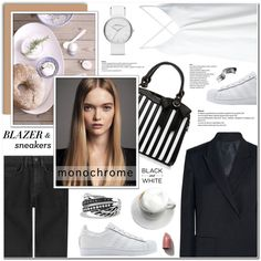 How To Wear Blazer & Sneakers - Monochrome Outfit Idea 2017 - Fashion Trends Ready To Wear For Plus Size, Curvy Women Over 20, 30, 40, 50