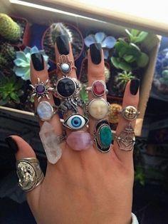 Grunge Jewelry, Hippie Jewelry, Cute Jewelry, Jewelry Rings, Jewelry Accessories, Fashion Accessories, Stone Jewelry, Hippie Rings, Jewlery