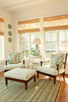 soft sage green check on spool chairs, charming setting.
