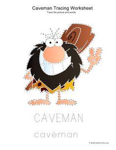 Tracing Caveman Worksheet