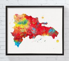 Dominican Republic Map Dominican Republic Wall by MiaoMiaoDesign