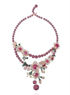 Lot 6, a Gemfields Mozambican ruby, Gemfields Zambian emerald, diamond, pink sapphire and orange sapphire necklace by Mirari, to be auctioned with the earrings above as part of a suite (estimate: INR 3,600,000 - 4,350,000; $60,000 - 73,000).