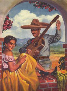 Vintage Mexican Calendar Image - Serenade