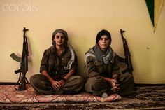 Kurdish YPJ Star (PKK) women fighters at their base in Kirkuk province, Iraqi Kurdistan.